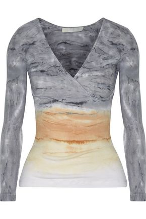 KAIN Rose wrap-effect tie-dyed ribbed cotton and modal-blend top