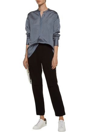 VINCE. Striped silk-satin shirt