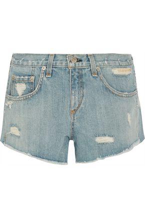 RAG & BONE Boyfriend studded distressed denim shorts
