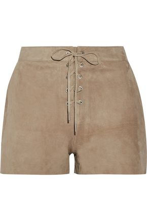 RAG & BONE Lace-up suede shorts