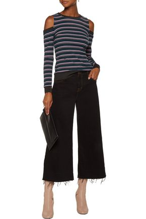 W118 by WALTER BAKER Suzie cold-shoulder striped stretch-cotton top