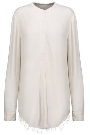 RAQUEL ALLEGRA Frayed crepe top