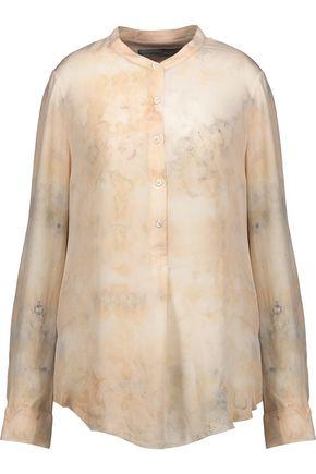 RAQUEL ALLEGRA Henley silk-chiffon blouse