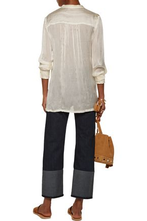 RAQUEL ALLEGRA Empire gathered ribbed silk blouse