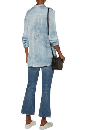 RAQUEL ALLEGRA Empire ribbed washed-silk blouse