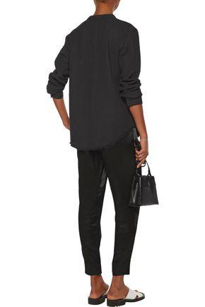 RAQUEL ALLEGRA Henley frayed cotton-twill shirt