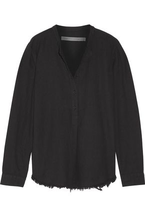 RAQUEL ALLEGRA Henley frayed cotton-twill shirt