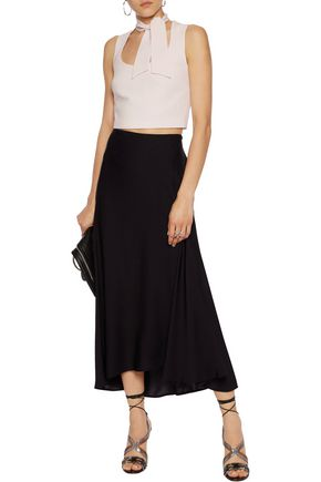 CINQ À SEPT Esme cropped tie-neck crepe top