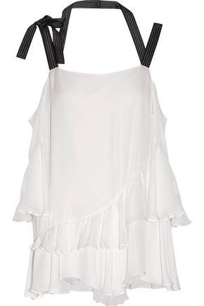 CINQ À SEPT Cold-shoulder ruffled silk top