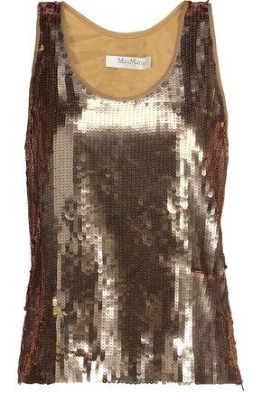 MAX MARA Sequined silk crepe de chine top