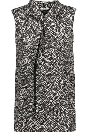 MAX MARA Pussy-bow printed silk and wool-blend top