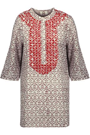 FIGUE Jasmine bead-embellished printed cotton-gauze tunic