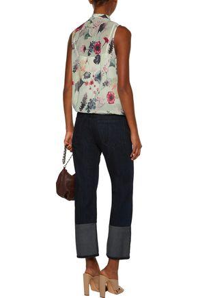 HAUTE HIPPIE Wrap-effect floral-print chiffon blouse