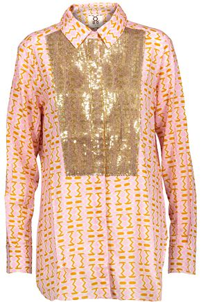 FIGUE Lamu sequin-embellished printed cotton-blend gauze shirt