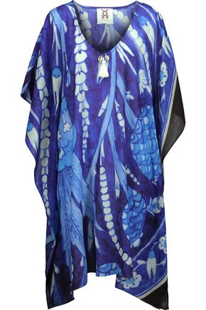 FIGUE Sade embellished printed cotton-blend broadcloth kaftan