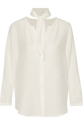 JOIE Nile tie-neck silk crepe de chine blouse