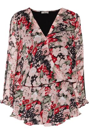 JOIE Ellar lace-trimmed wrap-effect printed silk crepe de chine playsuit