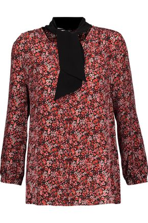JOIE Elick tie-neck printed silk crepe de chine blouse
