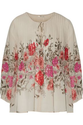JOIE Pintucked floral-print silk-chiffon blouse