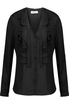 L'AGENCE Valentina ruffled silk crepe de chine blouse
