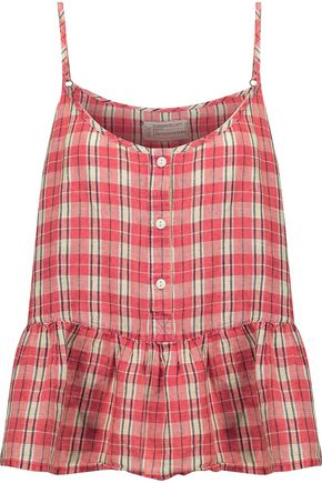 CURRENT/ELLIOTT The Workwear checked linen and cotton-blend peplum top