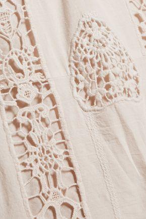 FIGUE Corrine crochet-paneled cotton-gauze kaftan