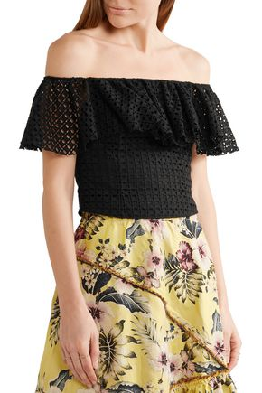PHILOSOPHY di LORENZO SERAFINI Off-the-shoulder cropped ruffled broderie anglaise cotton top