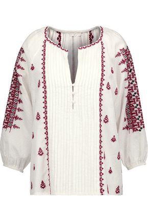 JOIE Ingelise embroidered cotton-blend blouse