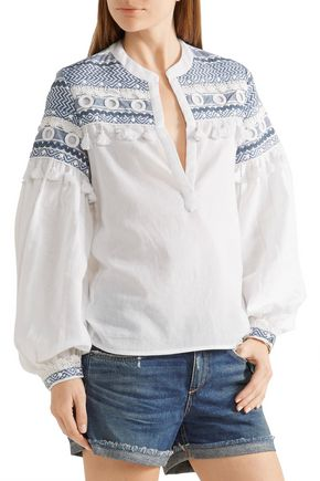 DODO BAR OR Nathaniel embellished embroidered cotton-gauze top