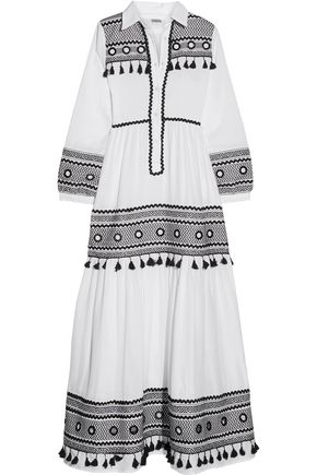 DODO BAR Or Embellished embroidered cotton-gauze maxi dress