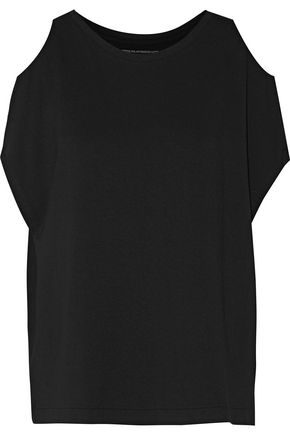 MAJESTIC Cold-shoulder stretch-jersey top