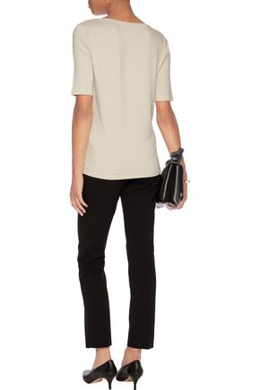 MAJESTIC Suede-paneled stretch-jersey top