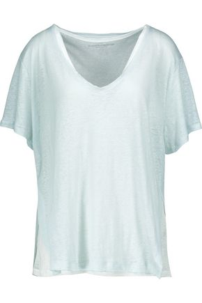 MAJESTIC Layered slub linen T-shirt