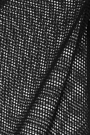 MAJESTIC Lace-up cotton-blend canvas-trimmed cotton-mesh top