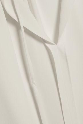 THEORY Gathered silk-crepe top