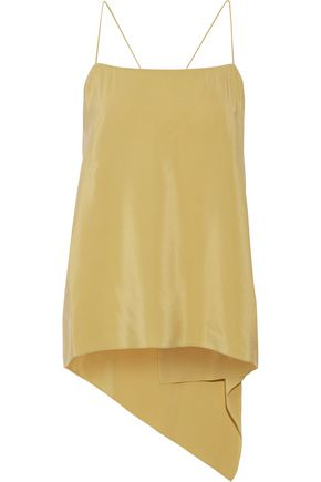 THEORY Vanissa asymmetric draped washed-silk camisole
