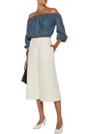 THEORY Waleska off-the-shoulder cropped cotton-chambray top