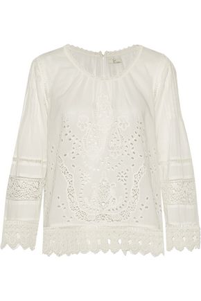 JOIE Carola broderie anglaise cotton top