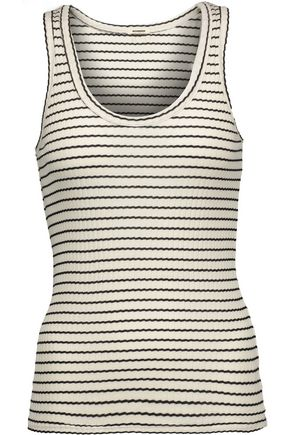 MONROW Striped ribbed stretch-cotton tank