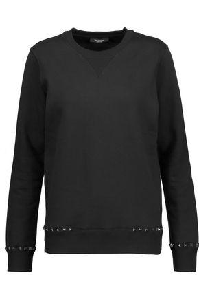 VALENTINO Stud-embellished cotton-blend jersey sweatshirt