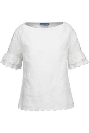 M.I.H JEANS Fiske embroidered linen and cotton-blend gauze top