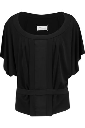 MAISON MARGIELA Belted pleated crepe top