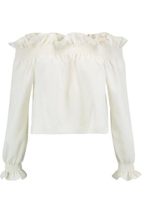 DIANE VON FURSTENBERG Georgie off-the-shoulder ruffled piqué top