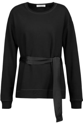 SANDRO Paris Jude belted satin and jersey top
