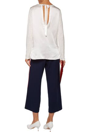 SANDRO Open-back satin-paneled slub linen top