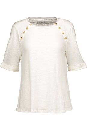 DEREK LAM 10 CROSBY Button-detailed slub linen T-shirt