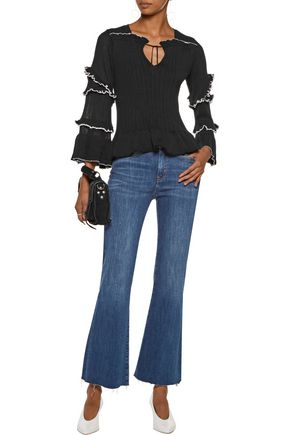 DEREK LAM 10 CROSBY Ruffled ribbed cotton sweater
