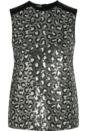 LOVE MOSCHINO Sequined satin top
