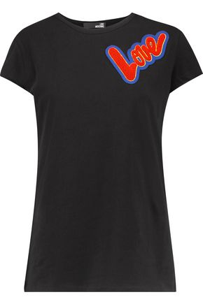 LOVE MOSCHINO Appliquéd stretch-cotton jersey top