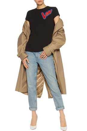 LOVE MOSCHINO Appliquéd stretch-cotton jersey top